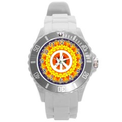 Psychedelic Peace Dove Mandala Plastic Sport Watch (large) by StuffOrSomething