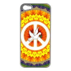 Psychedelic Peace Dove Mandala Apple Iphone 5 Case (silver) by StuffOrSomething