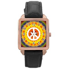 Psychedelic Peace Dove Mandala Rose Gold Leather Watch