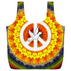 Psychedelic Peace Dove Mandala Reusable Bag (xl) by StuffOrSomething