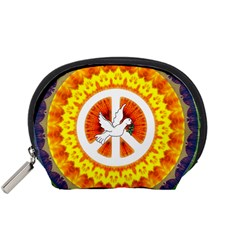 Psychedelic Peace Dove Mandala Accessory Pouch (small) by StuffOrSomething