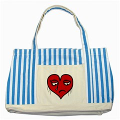 Sad Heart Blue Striped Tote Bag by dflcprints