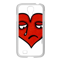Sad Heart Samsung Galaxy S4 I9500/ I9505 Case (white) by dflcprints