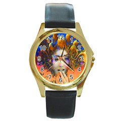 Organic Medusa Round Leather Watch (gold Rim)  by icarusismartdesigns
