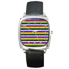 Horizontal Basic Colors Curly Stripes Square Leather Watch by BestCustomGiftsForYou