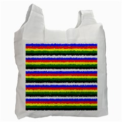 Horizontal Basic Colors Curly Stripes White Reusable Bag (two Sides) by BestCustomGiftsForYou