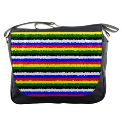 Horizontal Basic Colors Curly Stripes Messenger Bag by BestCustomGiftsForYou