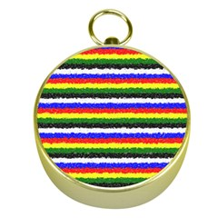 Horizontal Basic Colors Curly Stripes Gold Compass by BestCustomGiftsForYou