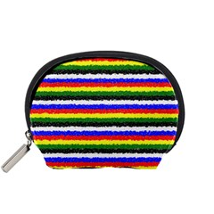 Horizontal Basic Colors Curly Stripes Accessory Pouch (small) by BestCustomGiftsForYou