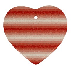 Horizontal Red Curly Stripes Heart Ornament (two Sides)