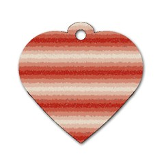 Horizontal Red Curly Stripes Dog Tag Heart (one Sided)