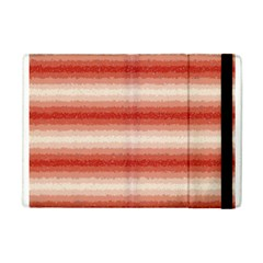 Horizontal Red Curly Stripes Apple Ipad Mini Flip Case by BestCustomGiftsForYou