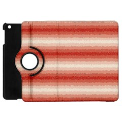 Horizontal Red Curly Stripes Apple Ipad Mini Flip 360 Case