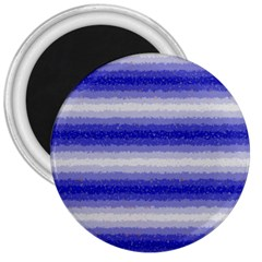 Horizontal Dark Blue Curly Stripes 3  Button Magnet