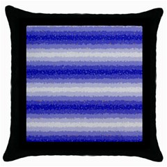 Horizontal Dark Blue Curly Stripes Black Throw Pillow Case by BestCustomGiftsForYou