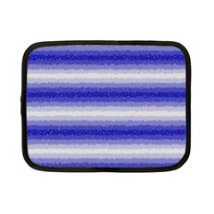 Horizontal Dark Blue Curly Stripes Netbook Sleeve (small) by BestCustomGiftsForYou