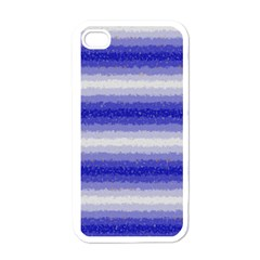 Horizontal Dark Blue Curly Stripes Apple Iphone 4 Case (white) by BestCustomGiftsForYou