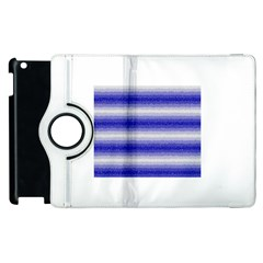 Horizontal Dark Blue Curly Stripes Apple Ipad 3/4 Flip 360 Case by BestCustomGiftsForYou
