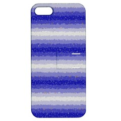 Horizontal Dark Blue Curly Stripes Apple Iphone 5 Hardshell Case With Stand by BestCustomGiftsForYou