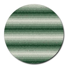 Horizontal Dark Green Curly Stripes 8  Mouse Pad (round) by BestCustomGiftsForYou