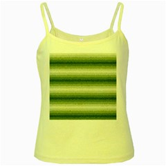 Horizontal Dark Green Curly Stripes Yellow Spaghetti Tank by BestCustomGiftsForYou