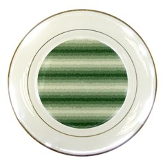 Horizontal Dark Green Curly Stripes Porcelain Display Plate by BestCustomGiftsForYou