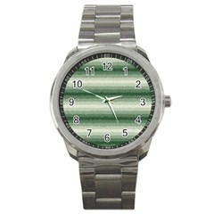 Horizontal Dark Green Curly Stripes Sport Metal Watch by BestCustomGiftsForYou