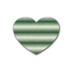 Horizontal Dark Green Curly Stripes Drink Coasters 4 Pack (heart)  by BestCustomGiftsForYou