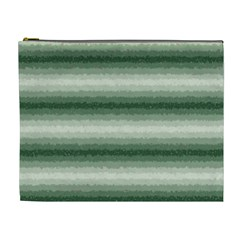 Horizontal Dark Green Curly Stripes Cosmetic Bag (xl) by BestCustomGiftsForYou