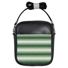 Horizontal Dark Green Curly Stripes Girl s Sling Bag by BestCustomGiftsForYou