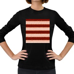 Horizontal Native American Curly Stripes   1 Women s Long Sleeve T Shirt (dark Colored) by BestCustomGiftsForYou