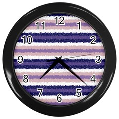 Horizontal Native American Curly Stripes   2 Wall Clock (black)