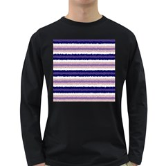 Horizontal Native American Curly Stripes   2 Men s Long Sleeve T Shirt (dark Colored) by BestCustomGiftsForYou