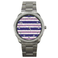 Horizontal Native American Curly Stripes   2 Sport Metal Watch by BestCustomGiftsForYou