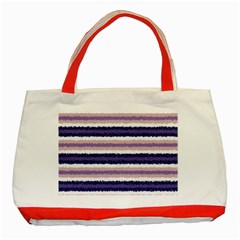 Horizontal Native American Curly Stripes   2 Classic Tote Bag (red) by BestCustomGiftsForYou