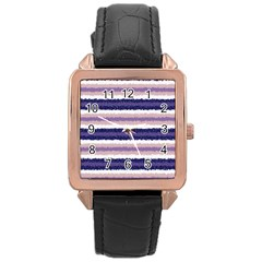 Horizontal Native American Curly Stripes   2 Rose Gold Leather Watch