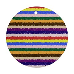 Horizontal Vivid Colors Curly Stripes   1 Round Ornament by BestCustomGiftsForYou