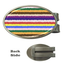 Horizontal Vivid Colors Curly Stripes   1 Money Clip (oval) by BestCustomGiftsForYou