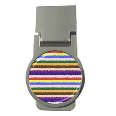 Horizontal Vivid Colors Curly Stripes   1 Money Clip (round) by BestCustomGiftsForYou