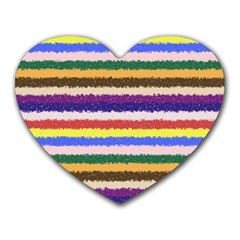 Horizontal Vivid Colors Curly Stripes   1 Mouse Pad (heart) by BestCustomGiftsForYou