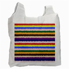 Horizontal Vivid Colors Curly Stripes   1 White Reusable Bag (two Sides) by BestCustomGiftsForYou