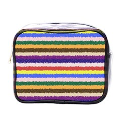 Horizontal Vivid Colors Curly Stripes   1 Mini Travel Toiletry Bag (one Side)