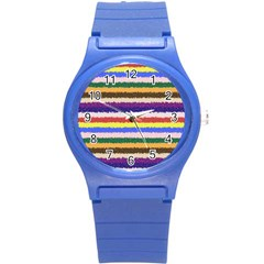Horizontal Vivid Colors Curly Stripes   1 Plastic Sport Watch (small) by BestCustomGiftsForYou