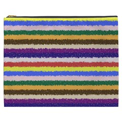 Horizontal Vivid Colors Curly Stripes   1 Cosmetic Bag (xxxl) by BestCustomGiftsForYou
