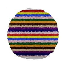 Horizontal Vivid Colors Curly Stripes - 1 15  Premium Round Cushion  by BestCustomGiftsForYou
