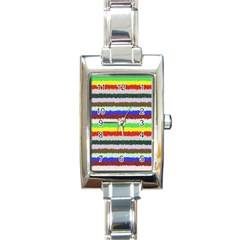 Horizontal Vivid Colors Curly Stripes   2 Rectangular Italian Charm Watch