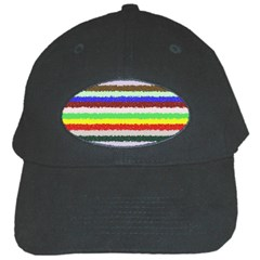 Horizontal Vivid Colors Curly Stripes   2 Black Baseball Cap by BestCustomGiftsForYou