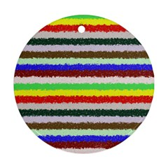 Horizontal Vivid Colors Curly Stripes   2 Round Ornament by BestCustomGiftsForYou