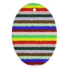 Horizontal Vivid Colors Curly Stripes   2 Oval Ornament by BestCustomGiftsForYou