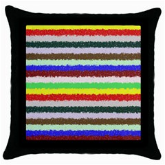 Horizontal Vivid Colors Curly Stripes   2 Black Throw Pillow Case by BestCustomGiftsForYou